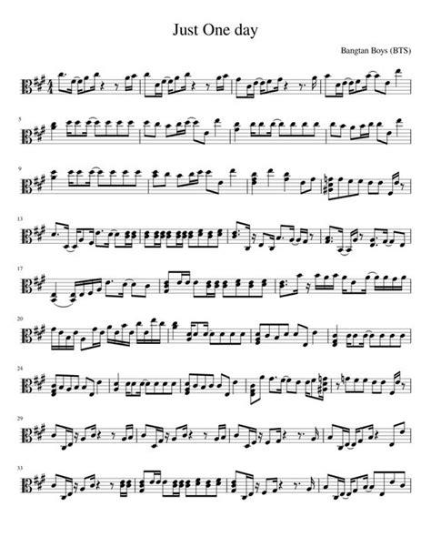 bts just one day lyrics just one day bts viola musescore partituras