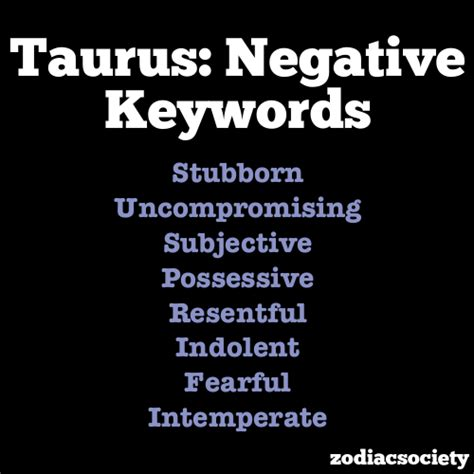 negative keywords of taurus zodiac signs taurus