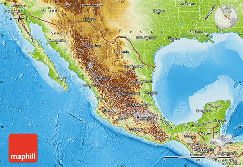 physical maps of mexico mexiko geographischen karte
