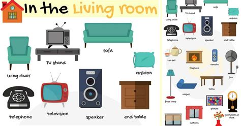 in the livingroom in the living room vocabulary names of living room