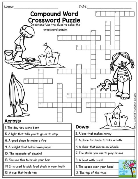 printable word games for 4th graders compound word crossword puzzle the summer review no prep