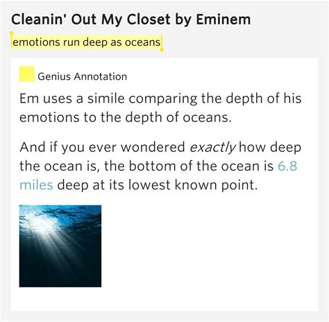 In The Closet Lyrics by Emotions Run As Oceans Cleanin Out Closet By Eminem