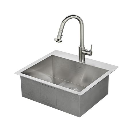 Drop In Stainless Steel Kitchen Sink Shop American Standard 25 In X 22 In Single Basin Stainless Steel Drop In Or Undermount