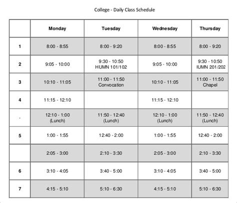 Daily Schedule Template 37 Free Word Excel Pdf Documents Download Free Premium Templates College Class Schedule Template