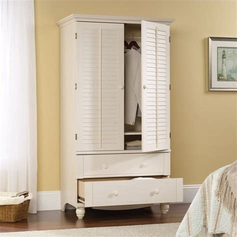 sauder clothing armoire sauder harbor view antiqued white armoire ebay