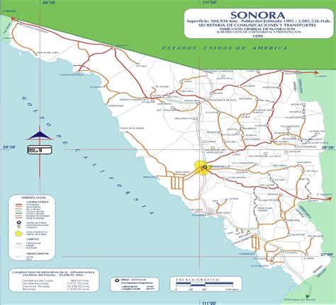 map of sonora 1999 size