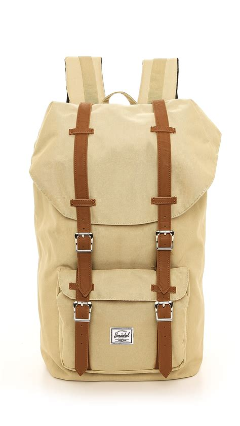 backpack with leather straps herschel supply co america backpack with leather straps in for lyst