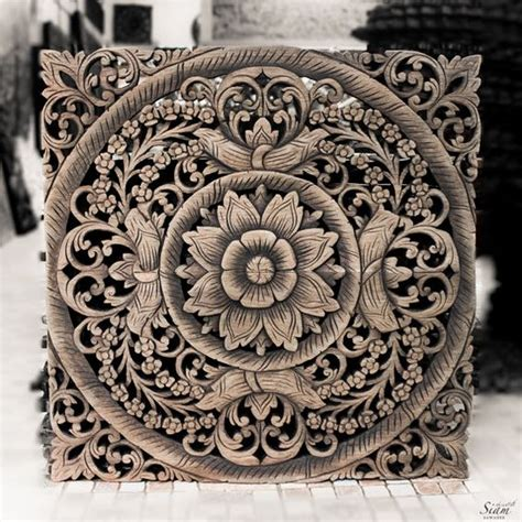 Wood Wall Panel Decor by Thai Wooden Wall Panel Wall Hanging Floral Wood Carved