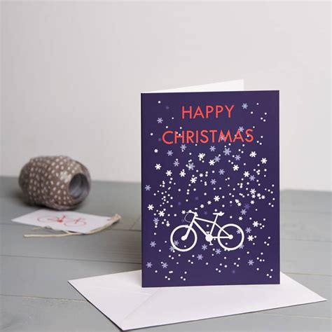 Mountain High Gift Cards - mountain bike in snowflakes christmas card by ginger french notonthehighstreet com