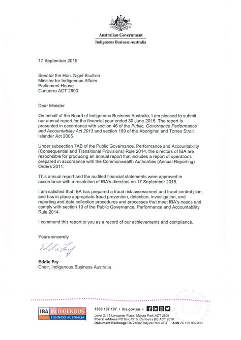 Transmittal Letter In Business Letter Of Transmittal Indigenous Business Australia Annual Report 2014 15