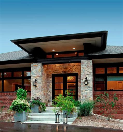 new prairie style home front cantilever modern exterior chicago by west studio prairie style home contemporary entry detroit by