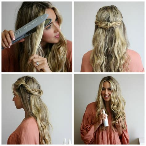 hair tutorial cara jourdan xo styling twisted crown beach wave hair