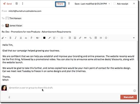 share email email sharing new zoho mail
