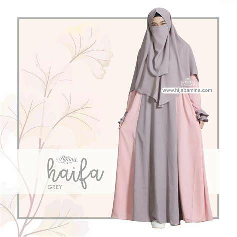 Syari Amina hayfa dress set khimar cadar grey amina
