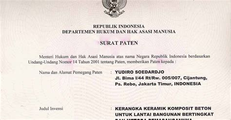 the only one contoh hak paten hukum industri