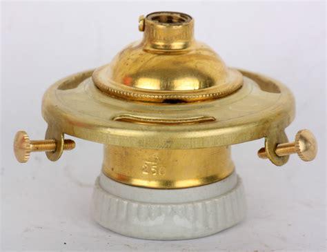 Light Socket Fixture Shade Holder Light Bulb Socket Vintage Brass Porcelain 2 1 4 Quot Fitter L Edison Ebay
