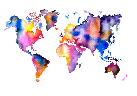 The World In Watercolor by Maps Watercolor Painting By Artollo