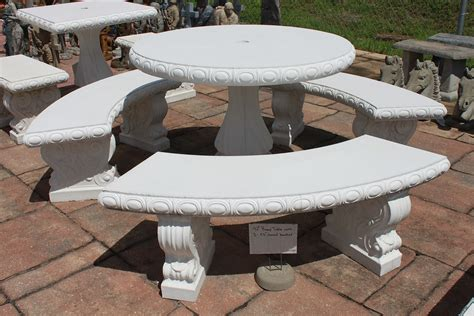 Concrete Patio Table And Benches Concrete Tables Benches Bayshore Concrete And Landscape Materials