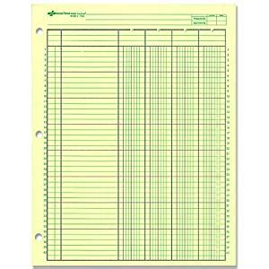 Amazon Com National Analysis Pad 4 Columns Green Paper 11 X 8 5 Quot 50 Sheets 45604 Columnar Pad Template For Excel
