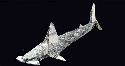 Dollar Origami Shark - one dollar bills origami and a garbage truck fwd
