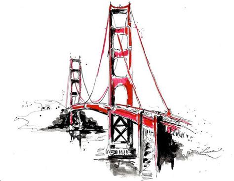 watercolor tattoo san francisco san francisco golden gate bridge travel print from
