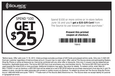 Toojays Gift Card - the source 25 gift card with 100 purchase print coupon king