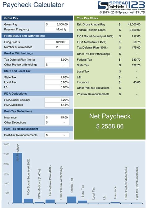 net pay check calculator for excel