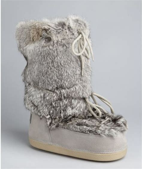 fendi grey leather and fur moon boots in gray grey lyst