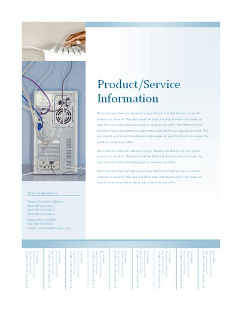 Download Business Flyer With Tear Off Tabs Soft Blue Design Free Flyer Templates For Microsoft Free Tear Tab Flyer Templates
