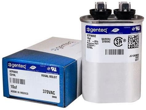 genteq capacitor 27l880 carrier p291 1003 10 uf mfd x 370 vac genteq replacement capacitor oval c310l 97f9002