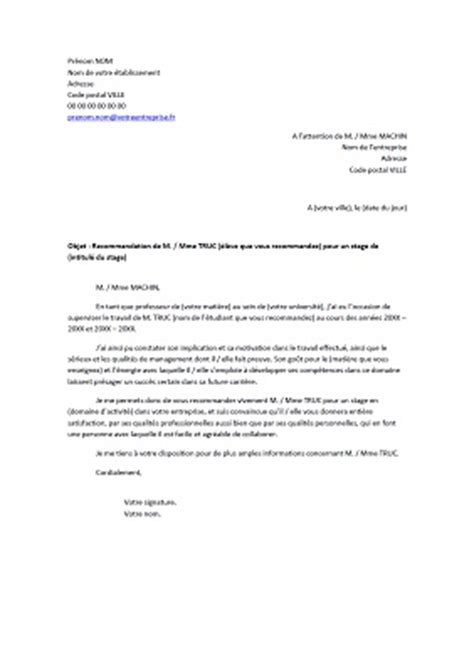 Exemple De Lettre De Recommandation D Un Professeur En Français Lettre De Recommandation Pour Un 233 Tudiant Exemples De Cv