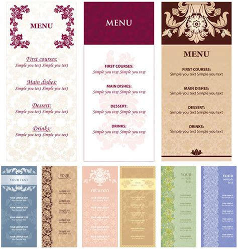 menu templates with flowers vector vector graphics