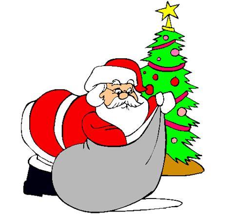 Imagenes De Santa Claus Entregando Regalos | dibujo de papa noel repartiendo regalos pintado por