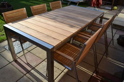Stainless Steel And Wood Outdoor Furniture by 8 Seater Teak Stainless Steel Garden Set Nirvana
