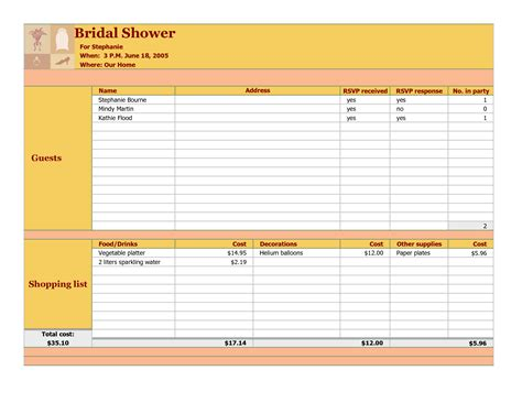 bridal shower guest list template 6 best images of bridal shower checklist template