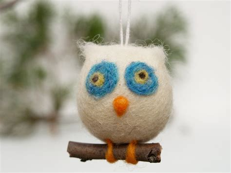 owl holiday ornament wool needle felt decoration by fairyfolk