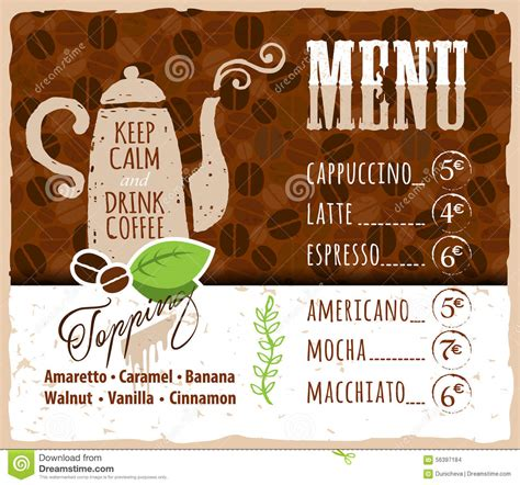 Handmade Menu - coffee menu design in vintage style for cafe stock vector