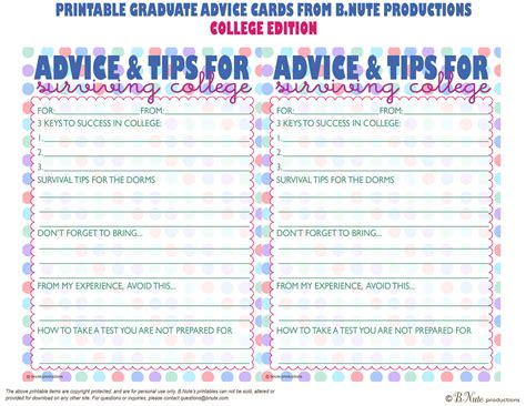 Word Graduation Advice Card Template by Bnute Productions Free Printable Graduate Advice Cards