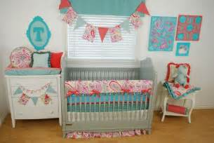 bright baby bedding coral and aqua crib bedding with a bright paisley