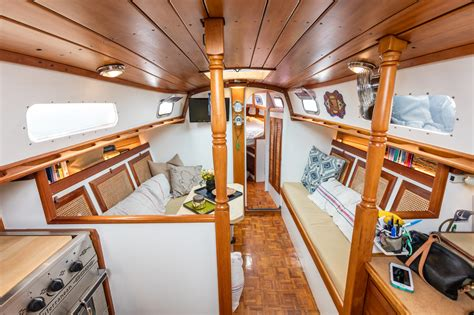living on a boat instead of house touring the 200 square foot sailboat one new york couple