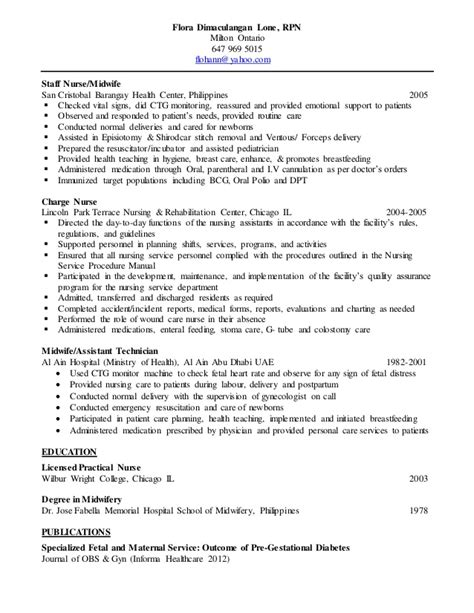 Sle Resume For Midwife In The Philippines Flora Lone Resume