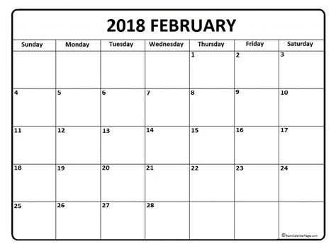 printable february 2018 calendar page february 2018 calendar 51 calendar templates of 2018