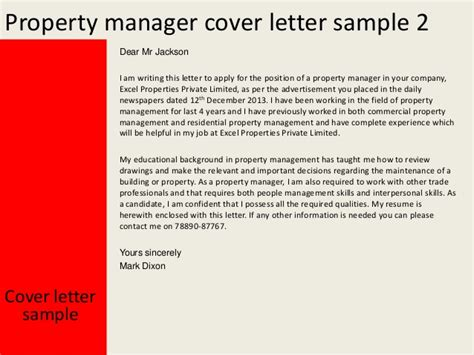 property cover letter property manager cover letter