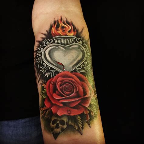 sacred rose tattoo sacred skull by gabriel londis tattoonow