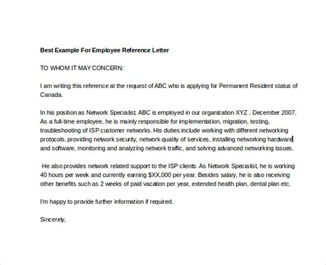 Reference Letter For Term Employee Employee Reference Letter 10 Free Word Documents