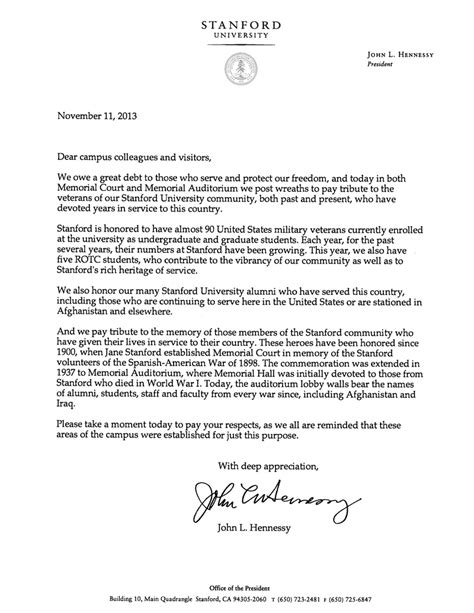 Acceptance Letter From Stanford Stanford President Honors Veterans The Dish