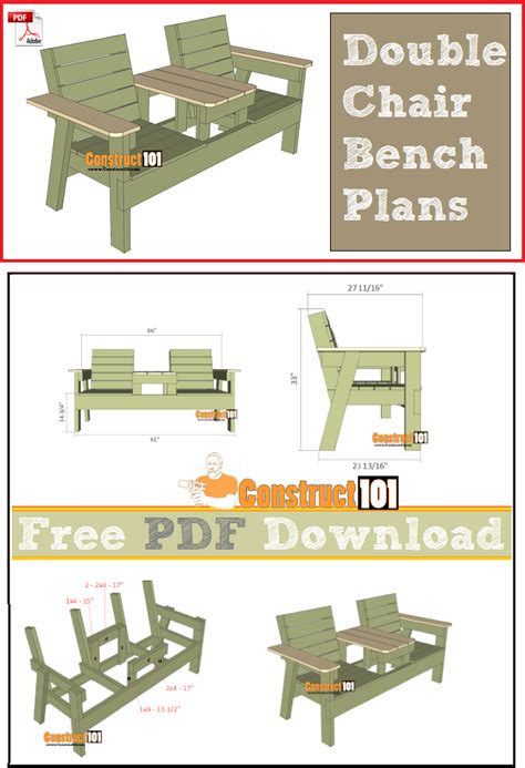double chair bench plans   construct