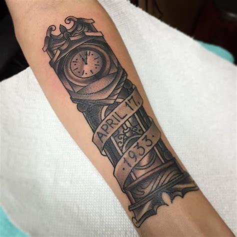 grandfather clock tattoo grandfather clock with a date could possibly do