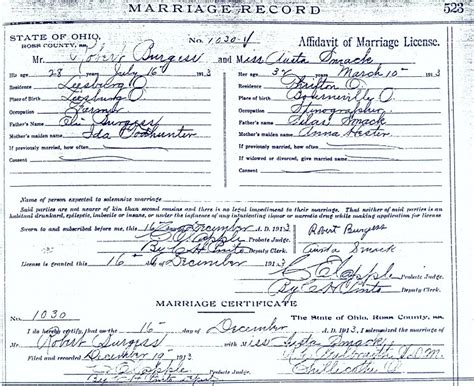 Ross County Ohio Birth Records Eli Milner Burgess Ida May Todhunter