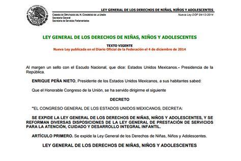 ley de los derechos de las ni as los ni os y ley general de los derechos de ni 241 as ni 241 os y adolescentes